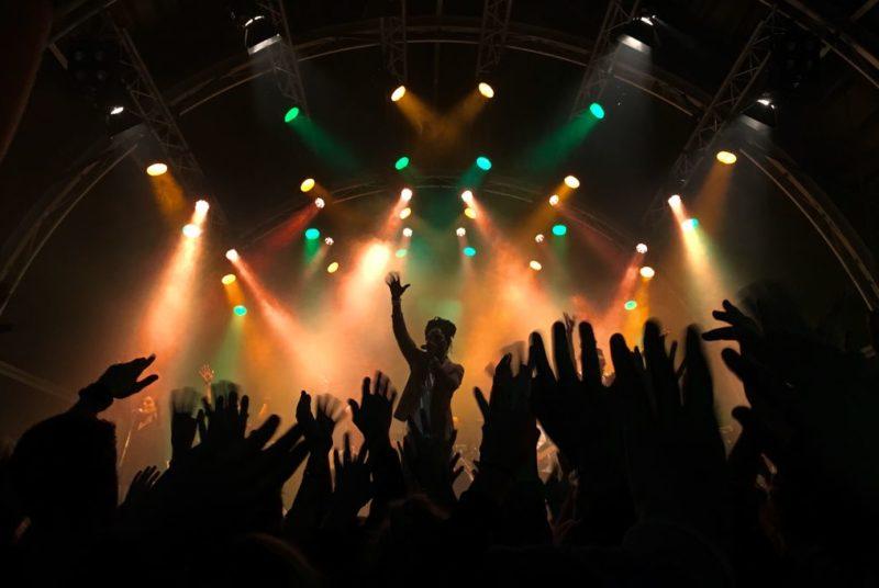 Sänger singt auf einem Konzert vor jubelnder Menge
